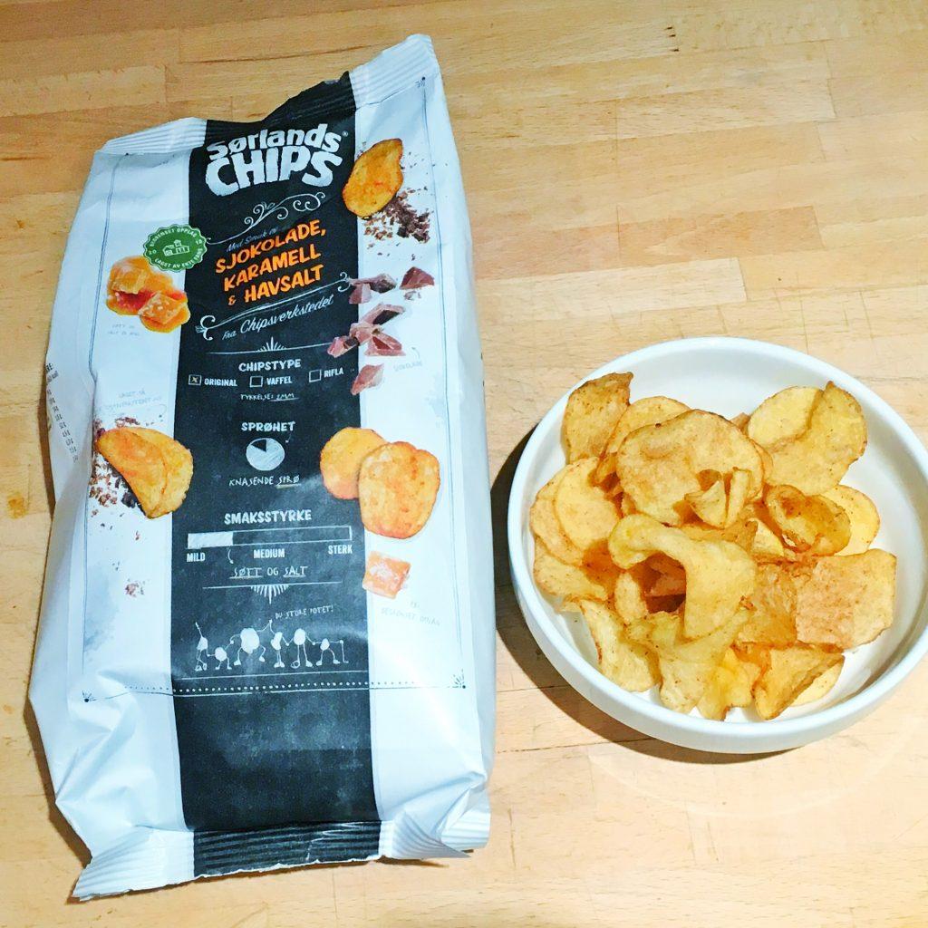 Chips med sjokolade, karamell og havsalt…